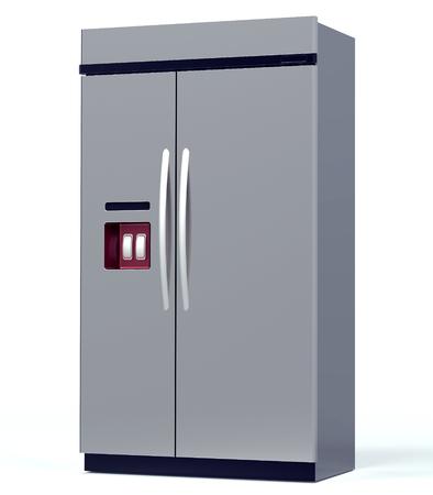 refrigerator: luxury steel refrigerator isolated on white  Stock Photo