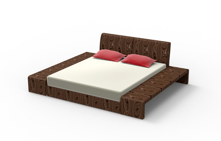 queen bed: king sized bed made of wood isolated on white
