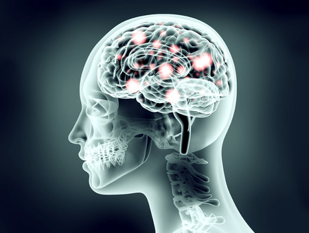 x-ray image of human head with brain and electric pulses