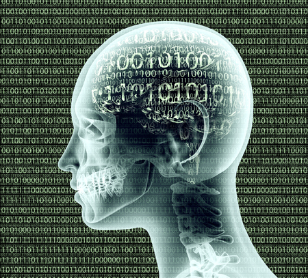 decoding: x-ray image of human head with binairy code for a brain.