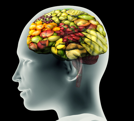 the fresh: x-ray image of human head with fruit for a brain. Stock Photo