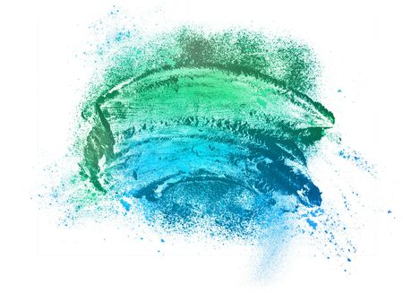 colored powder: burst of colored powder isolated on white