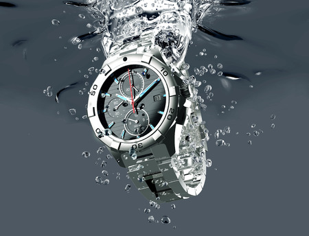 metal wrist watch is under water.