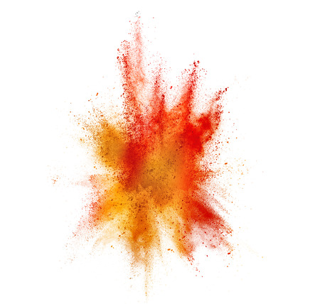 white powder: burst of colored powder isolated on white
