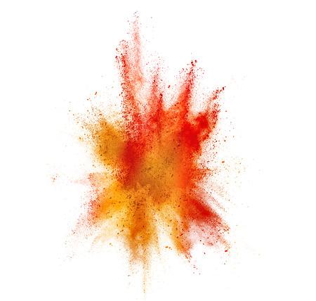 staub: von farbigen Pulver platzen isoliert auf weiß