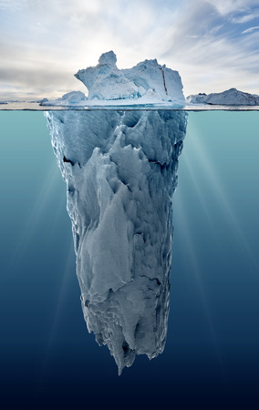 underwater: iceberg with underwater view taken in greenland