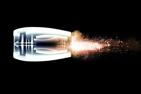voiture de pompiers: x-ray moteur image de jet de feu isol� sur noir