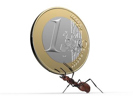hormiga: hormiga est� levantando una moneda de un euro aislado en un blanco