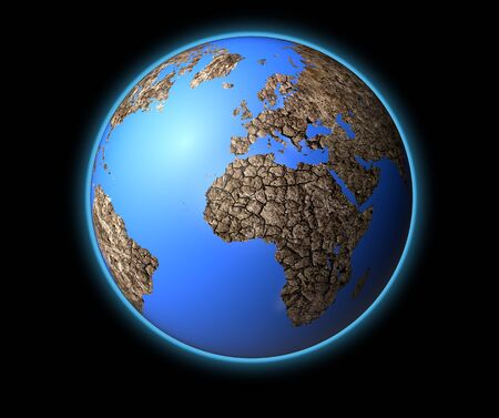end of the world: dead dry earth isolated on black back ground, For map used open source http:visibleearth.nasa.govview_rec.php?id=2433