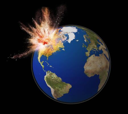 end of the world: exploding earth isolated on black back ground, For map used open source http:visibleearth.nasa.govview_rec.php?id=2433 Stock Photo