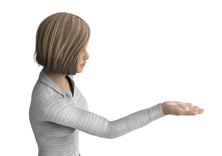 human arm: woman holding hand up or giving  isolated on white Stock Photo