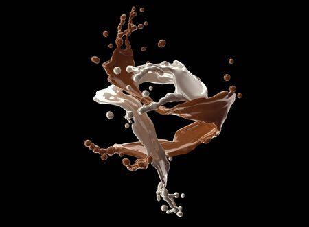 chocolate splash: chocolate splash white and brown with clipping path.