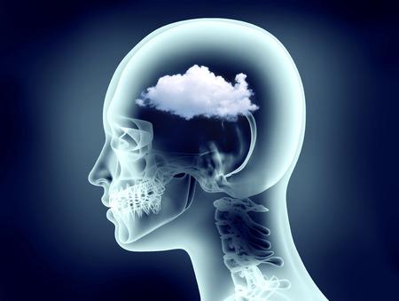 cognicion: imagen de rayos X de la cabeza humana con la nube