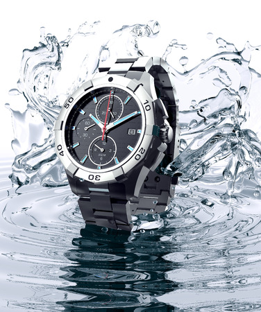 splash background: beautifull watch raising out of water