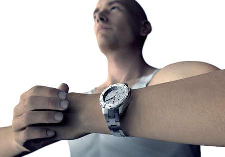 palmier: jeune homme avec bracelet pr�t � aller.