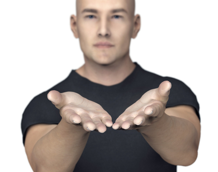 man with giving or begging hands gesture. Stock Photo