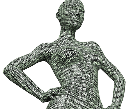 electronic woman or female cyborg isolated on white background