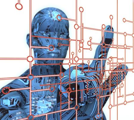 pressing: electronic man pressing virtual computer screen.