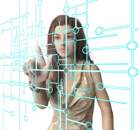 pressing: woman pressing virtual computer screen with finger.