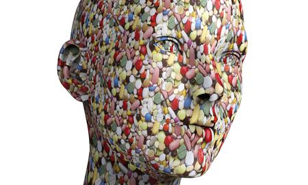 cabeza: una cabeza humana hecha de p�ldoras.