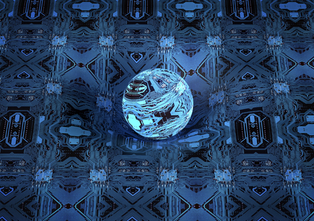 affecting: circuit board sphere is affecting space  time around it . Stock Photo