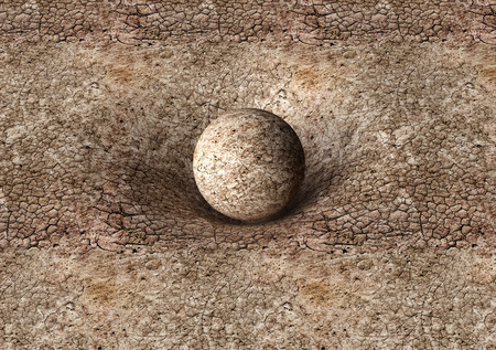 affecting: dry earth sphere is affecting space around it . Stock Photo