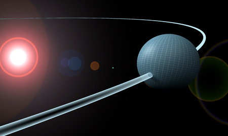 orbiting: sphere or planet is orbiting a sun.