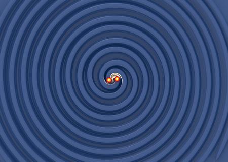 beautifull 3d illustration of two Gravitational Waves.