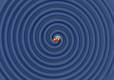 to gravity: beautifull 3d illustration of two Gravitational Waves.