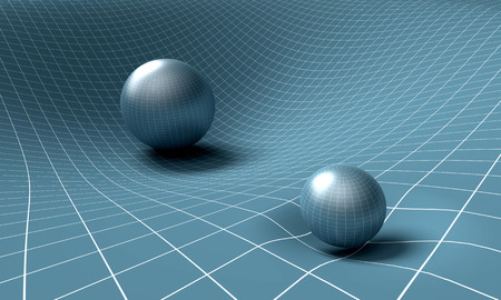 affecting: sphere is affecting space  time around it . Stock Photo