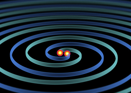 beautifull 3d illustration of two Gravitational Waves.