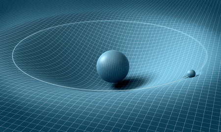 sphere is affecting space / time around it . Stockfoto