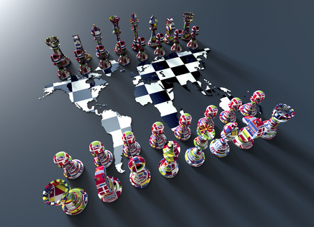 geopolitics: symbol of geopolitics, chess board out of the world map with chess play made of country flags