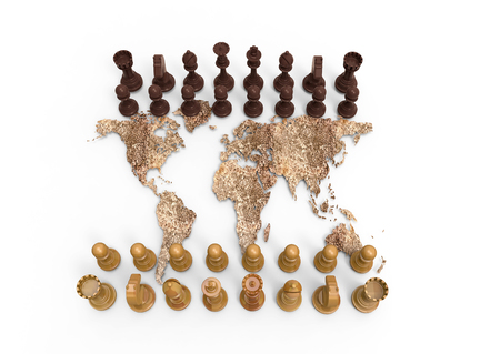 geopolitics: symbol of geopolitics, chess board out of a dry world map with chess play