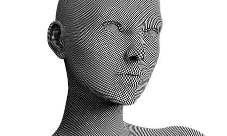 checkerboard: woman face in checkerboard isolated on white