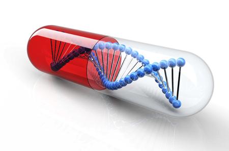 Genetische Medicine met DNA geïsoleerd op wit. Stockfoto