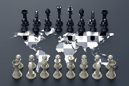 Symbol der Geopolitik, Schachbrett aus der Weltkarte mit Schach spielen Standard-Bild - 53794062