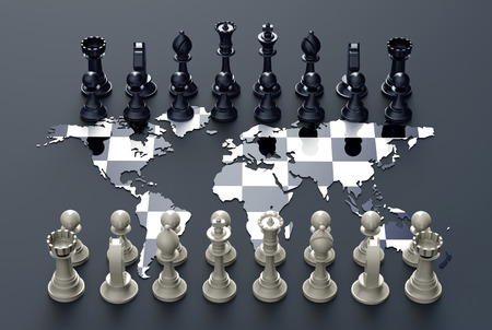 geopolitics: symbol of geopolitics, chess board out of the world map with chess play