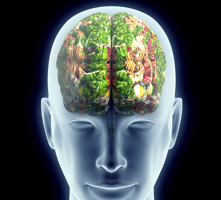 x-ray van het menselijk hoofd met groenten en fruit voor de hersenen.