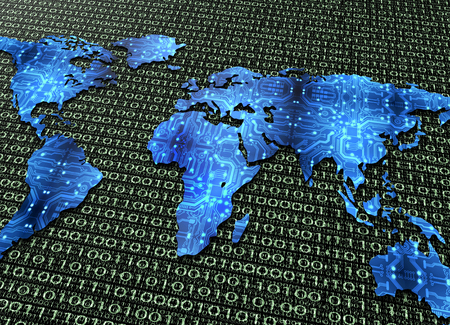 symbol of global digital world communications, digital electronic world map isolated