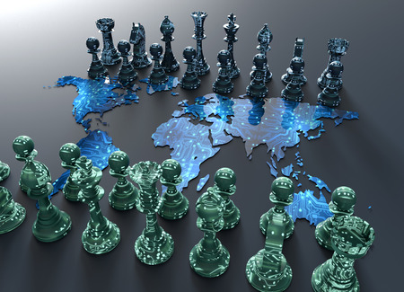 geopolitics: symbol of electronic fighting, digital chess board out of the world map with chess play