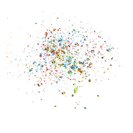 explosion of colorfull confetti isolated on white. Banque d'images