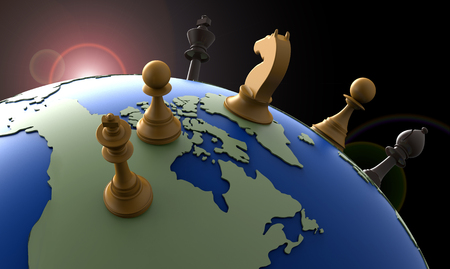 geopolitics: symbol of geopolitics the world globe with chess pieces