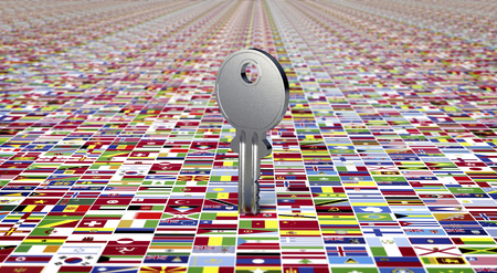 nation: ground made of nation flags with key. Stock Photo