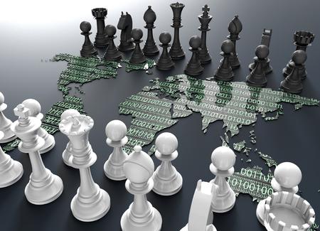 Symbol der elektronischen Kampf, digitale Schachbrett aus der Weltkarte mit Schach spielen Standard-Bild - 53795036