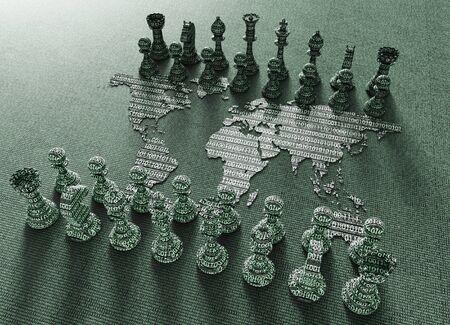 전자 싸움, 디지털 체스 판의 상징 체스 플레이와 세계지도
