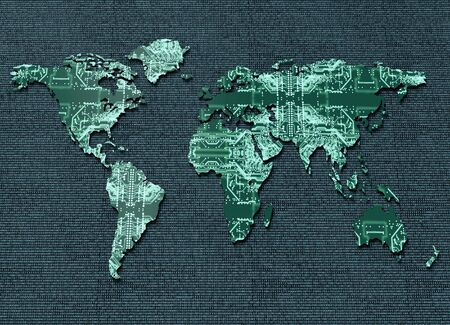 geopolitics: symbol of global digital world communications, digital electronic world map isolated