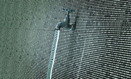 breach: concept of leaky software, data with a tap sticking out.
