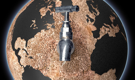 hunger: global drought concept, dry planet earth with  a water tap