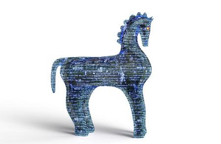 cavallo di troia: concetto di sicurezza del computer cavallo di Troia isolato su bianco, illustrazione 3D. Archivio Fotografico